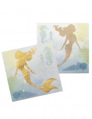 Wunderschöne Meerjungfrau-Servietten 12 Stück goldfarben-blau 33 x 33 cm