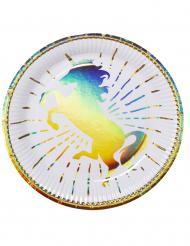 6 Holo Einhorn Teller aus Pappkarton 23 cm