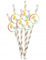 Strohhalme mit Einhorn-Motiv Partyzubehör 6 Stück bunt 20cm