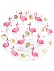 Pappteller mit Flamingo-Motiv Partyzubehör 6 Stück weiß-goldfarben-rosa 23 cm