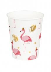 Pappbecher mit Flamingos tropische-Tischdeko rosa-weiss 6 Stück 250 ml