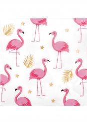 Tropische Flamingo-Servietten Tisch-Deko 12 Stück weiss-gold-pink 33 x 33 cm