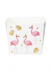 Snackboxen mit Flamingo-Motiv Party-Behälter 6 Stück weiss-rosa-goldfarben 400 ml