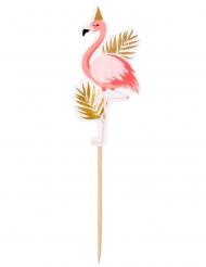 Partypicker mit Flamingos 12 Stück rosa-gold 13 cm