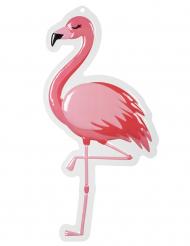 Tropische Flamingo-Wanddeko für Mottopartys pink-weiss 50 x 30 cm