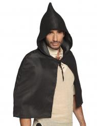 Mittelalterlicher Kapuzen-Umhang für Erwachsene schwarz