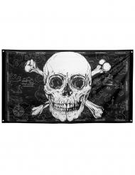 Räuberische Piratenflagge Jolly Roger Raumdeko schwarz-weiß 150 x 90 cm