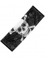 Piraten-Banner in Übergröße Jolly Roger mit Totenschädel schwarz-weiß 220 x 74 cm