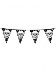Piraten-Girlande mit Wimpeln Jolly Roger-Partyzubehör schwarz-weiss 20 x 30 cm