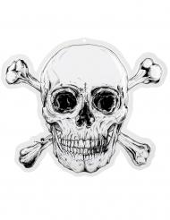 Piraten-Wanddeko Jolly Roger Raumdekoration schwarz-weiß 50 x 42 cm