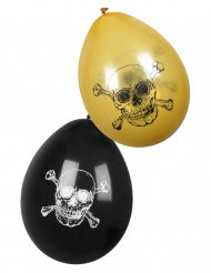 Seeräuber Piraten-Luftballons Jolly Roger 6 Stück schwarz-goldfarben 25 cm