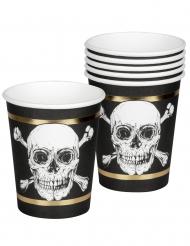 Pappbecher für eine Piratenparty 6 Stück schwarz-weiss-gold 250 ml