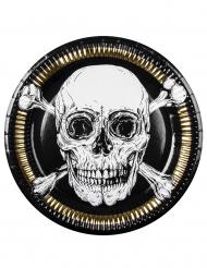 Pappteller Jolly Roger Piraten Tischzubehör 6 Stück schwarz-weiß-goldfarben
