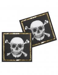 Piraten-Servietten Tischdeko 12 Stück Partyzubehör schwarz-weiss 33 x 33 cm