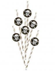 Piraten-Trinkhalme Partyzubehör aus Pappkarton 6 Stück goldfarben-schwarz-weiss 24 cm