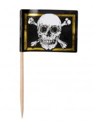 Jolly Roger-Flagge mit Piekser Partydeko scjhwarz-weiss-gold 7 cm