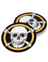 Jolly Roger-Untersetzer Piraten Tischdeko 6 Stück schwarz-weiß-goldfarben