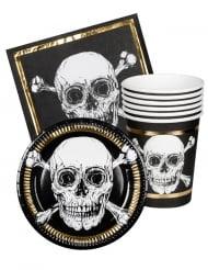 Geschirr-Set Piraten 18-teilig Partyzubehör schwarz-weiss