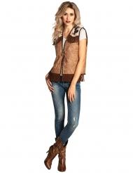 Cowgirl-Weste für Damen Kostüm-Zubehör braun-beigefarben