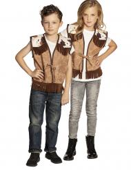 Cowboy-Weste für Kinder Western-Zubehör braun-weiss