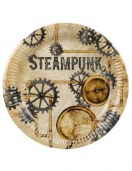 Steampunk-Pappteller Partydeko 6 Stück bunt 23 cm