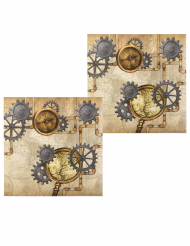 Viktorianische Papierservietten Tischzubehör 12 Stück braun-grau 33 x 33 cm