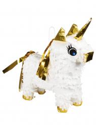 Einhorn-Pinata für Kindergeburtstage Party-Zubehör weiss-goldfarben 21 x 17 cm