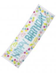 Fröhlicher Geburtstag-Banner weiß-blau-bunt 74 x 220 cm