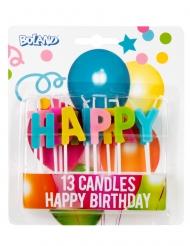 Happy Birthday-Geburtstagskerzen Kuchendeko 13 Stück bunt