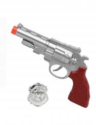Spielzeug Pistole mit Polizeiabzeichen silber-braun