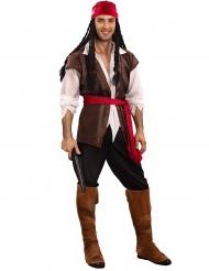 Piraten-Kostüm für Herren in Übergröße Seeräuber braun-rot-weiss