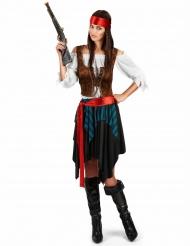 Piraten-Damenkostüm in Übergröße Karnevals-Verkleidung XXL blau-schwarz-braun-rot