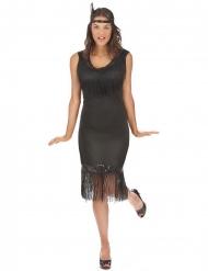 20er Charleston-Kostüm für Damen in Übergröße schwarz
