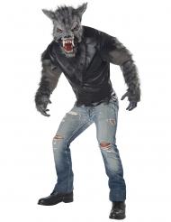 Schauriges Wolf-Kostüm für Herren Werwolf grau-schwarz
