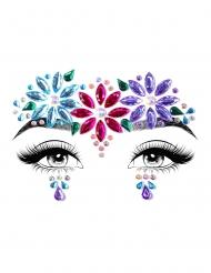 Gesichtsschmuck selbstklebende Strasssteine mit Blumen bunt