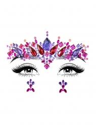 Glitzersteine fürs Gesicht selbstklebend Festival-Zubehör lila-rot-pink