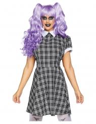 Schaurige Horrorpuppe Damenkostüm für Halloween & Karneval grau-weiss