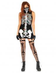 Skelett-Damenkostüm Halloween Tag der Toten schwarz-weiss