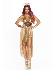 Kriegerische Sonnen-Königin Damenkostüm für Karneval braun-goldfarben