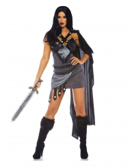 Thronkriegerin Damenkostüm Deluxe-Verkleidung grau-schwarz