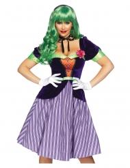 Deluxe Harlekin Kostüm für Damen violett-grün