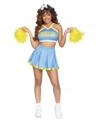 Sexy Cheerleader-Damenkostüm für Karneval blau-weiss-gelb