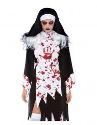 Horror-Nonne Halloween-Damenkostüm schwarz-weiss
