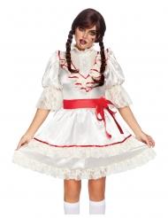 Dämonische Puppe Damenkostüm für Halloween Deluxe weiss-rot