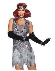 20er-Jahre Charleston Glitzer-Kostüm für Damen grau