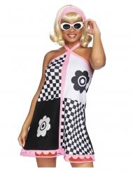 Flippiges 60er-Jahre-Kostüm für Damen Karnevals-Kostüm schwarz-weiss