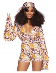 Flower-Power 60er Jahre Damenkostüm für Karneval bunt