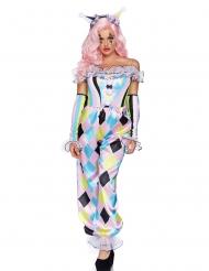 Kunterbuntes Clownskostüm Für Damen Karneval-Verkleidung bunt