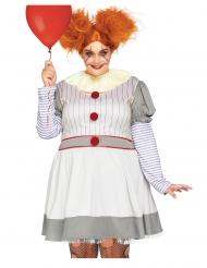 Horrorclown-Kostüm für Damen Plus Size weiss-grau-rot