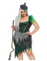 Waldhexe-Damenkostüm für Halloween grün-silber